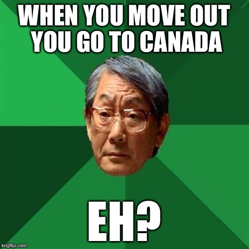 High Expectations Asian Father Meme | WHEN YOU MOVE OUT YOU GO TO CANADA EH? | image tagged in memes,high expectations asian father | made w/ Imgflip meme maker