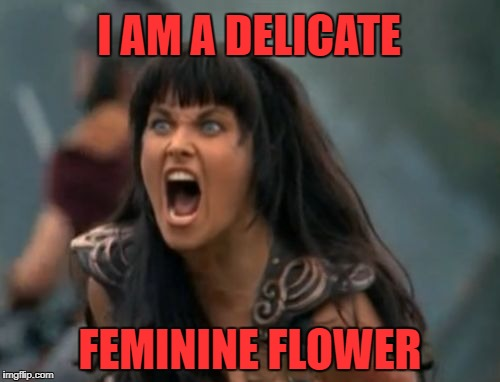 Xena screaming | I AM A DELICATE FEMININE FLOWER | image tagged in xena screaming | made w/ Imgflip meme maker