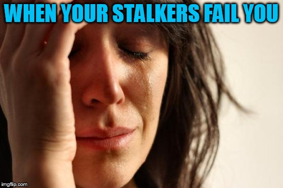 First World Problems Meme | WHEN YOUR STALKERS FAIL YOU | image tagged in memes,first world problems | made w/ Imgflip meme maker