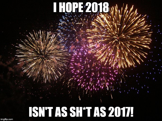 I HOPE 2018 ISN'T AS SH*T AS 2017! | image tagged in new year eve | made w/ Imgflip meme maker