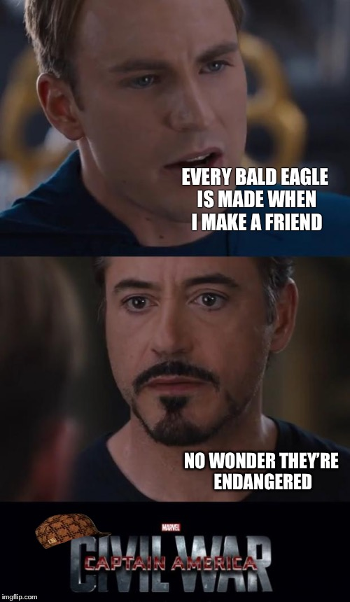 Marvel Civil War Meme | EVERY BALD EAGLE IS MADE WHEN I MAKE A FRIEND NO WONDER THEY'RE ENDANGERED | image tagged in memes,marvel civil war,scumbag | made w/ Imgflip meme maker