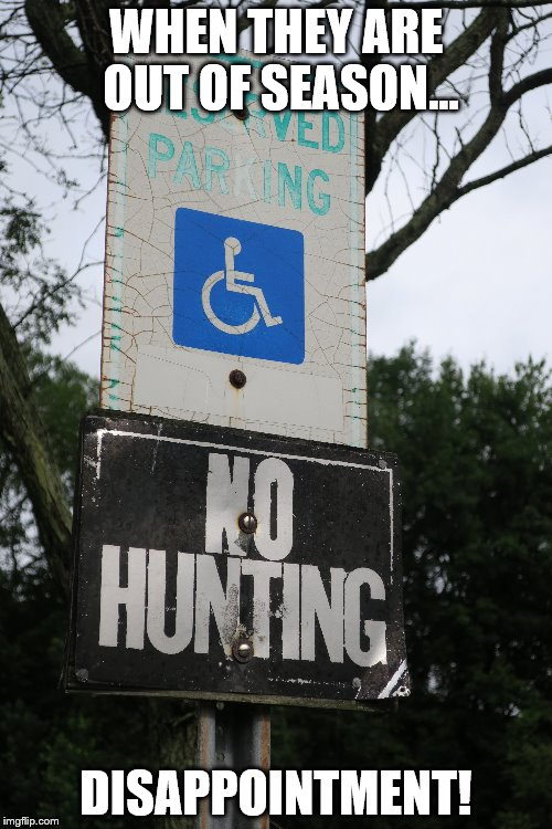 Hunting Season | WHEN THEY ARE OUT OF SEASON... DISAPPOINTMENT! | image tagged in handicapped,hunting,parking | made w/ Imgflip meme maker