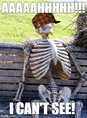 Waiting Skeleton Meme | AAAAAHHHHH!!! I CAN'T SEE! | image tagged in memes,waiting skeleton,scumbag | made w/ Imgflip meme maker