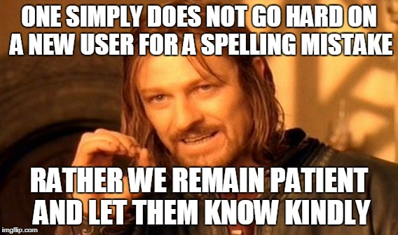 One Does Not Simply Meme | ONE SIMPLY DOES NOT GO HARD ON A NEW USER FOR A SPELLING MISTAKE RATHER WE REMAIN PATIENT AND LET THEM KNOW KINDLY | image tagged in memes,one does not simply | made w/ Imgflip meme maker
