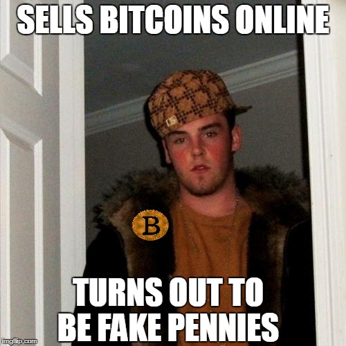 Saw a guy online telling everyone you can make money investing in bitcoins i wasn't falling for that scheme  | SELLS BITCOINS ONLINE TURNS OUT TO BE FAKE PENNIES | image tagged in memes,scumbag steve,bitcoin,scam | made w/ Imgflip meme maker