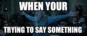 Harry Potter | WHEN YOUR TRYING TO SAY SOMETHING | image tagged in harry potter | made w/ Imgflip meme maker