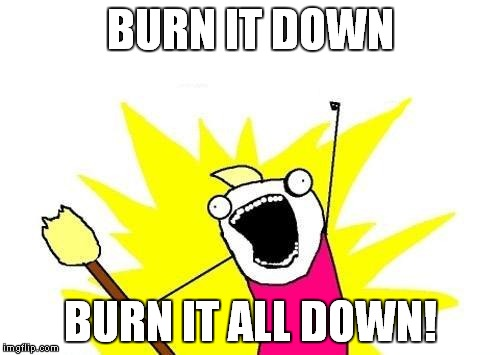 X All The Y Meme | BURN IT DOWN BURN IT ALL DOWN! | image tagged in memes,x all the y | made w/ Imgflip meme maker