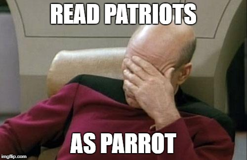 Captain Picard Facepalm Meme | READ PATRIOTS AS PARROT | image tagged in memes,captain picard facepalm | made w/ Imgflip meme maker