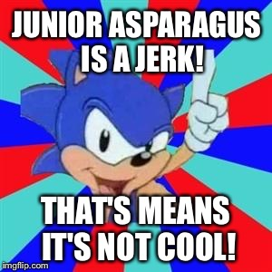 Sonic sez | JUNIOR ASPARAGUS  IS A JERK! THAT'S MEANS IT'S NOT COOL! | image tagged in sonic sez | made w/ Imgflip meme maker