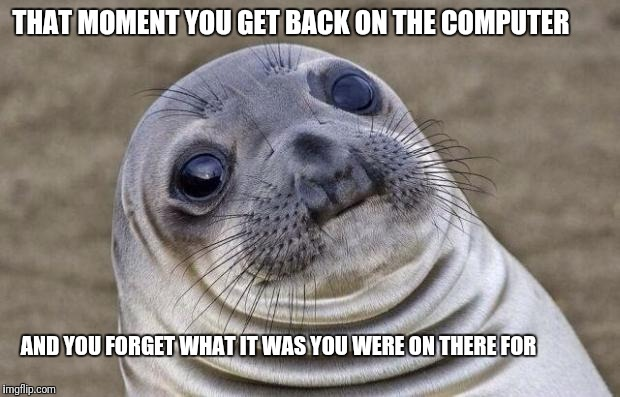 Awkward Moment Sealion Meme | THAT MOMENT YOU GET BACK ON THE COMPUTER AND YOU FORGET WHAT IT WAS YOU WERE ON THERE FOR | image tagged in memes,awkward moment sealion | made w/ Imgflip meme maker