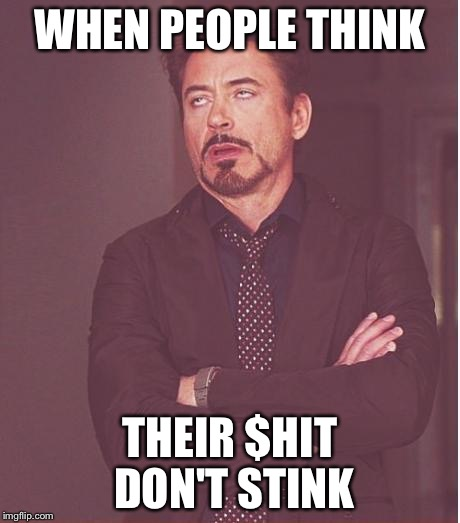 Face You Make Robert Downey Jr Meme | WHEN PEOPLE THINK THEIR $HIT DON'T STINK | image tagged in memes,face you make robert downey jr | made w/ Imgflip meme maker