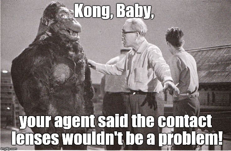 Kong with Director | Kong, Baby, your agent said the contact lenses wouldn't be a problem! | image tagged in kong with director | made w/ Imgflip meme maker
