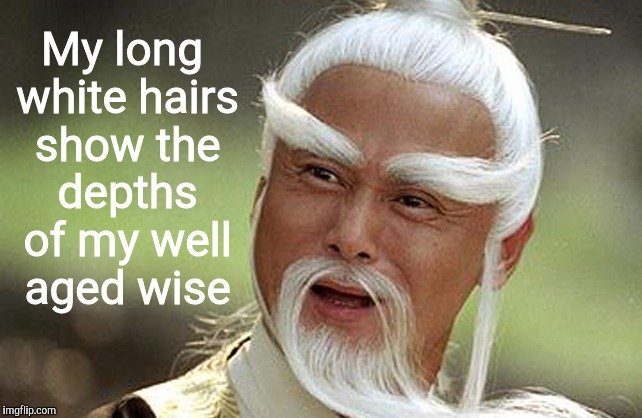 Wise Man Is Impressed | My long white hairs show the depths of my well aged wise | image tagged in wise man is impressed | made w/ Imgflip meme maker