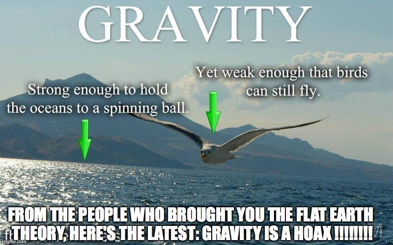 Gravity is a hoax | FROM THE PEOPLE WHO BROUGHT YOU THE FLAT EARTH THEORY, HERE'S THE LATEST: GRAVITY IS A HOAX !!!!!!!! | image tagged in gravity hoax,flat earth | made w/ Imgflip meme maker