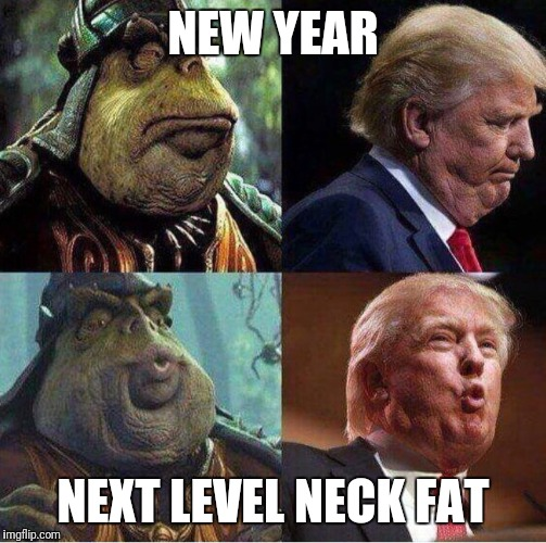 New year, same neck  | NEW YEAR NEXT LEVEL NECK FAT | image tagged in donny neck-fat,drumpf,fat,motherfucker | made w/ Imgflip meme maker