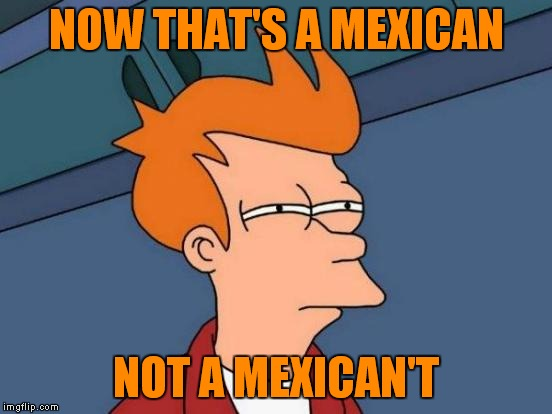Futurama Fry Meme | NOW THAT'S A MEXICAN NOT A MEXICAN'T | image tagged in memes,futurama fry | made w/ Imgflip meme maker