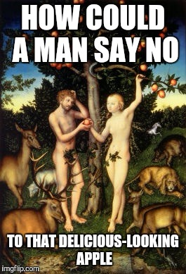 Adam and Eve | HOW COULD A MAN SAY NO TO THAT DELICIOUS-LOOKING APPLE | image tagged in bible | made w/ Imgflip meme maker