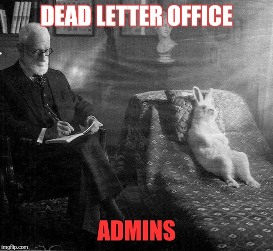 DLO  admins | DEAD LETTER OFFICE ADMINS | image tagged in freud and rabbit | made w/ Imgflip meme maker