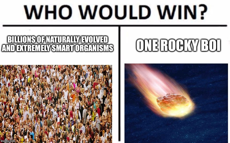 Who Would Win? Meme | BILLIONS OF NATURALLY EVOLVED AND EXTREMELY SMART ORGANISMS ONE ROCKY BOI | image tagged in memes,who would win | made w/ Imgflip meme maker