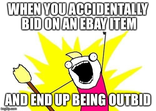 X All The Y Meme | WHEN YOU ACCIDENTALLY BID ON AN EBAY ITEM AND END UP BEING OUTBID | image tagged in memes,x all the y | made w/ Imgflip meme maker