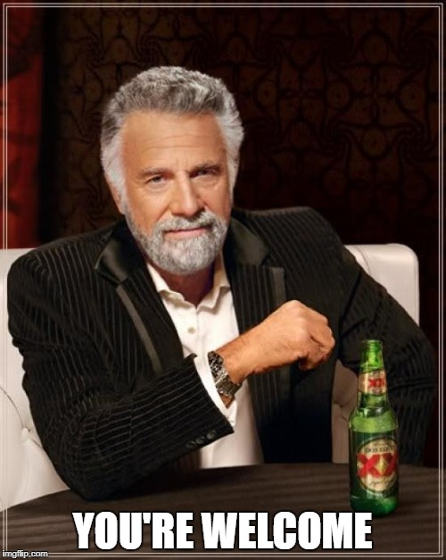 The Most Interesting Man In The World Meme | YOU'RE WELCOME | image tagged in memes,the most interesting man in the world | made w/ Imgflip meme maker
