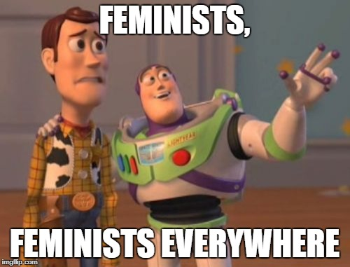 X, X Everywhere Meme | FEMINISTS, FEMINISTS EVERYWHERE | image tagged in memes,x x everywhere | made w/ Imgflip meme maker