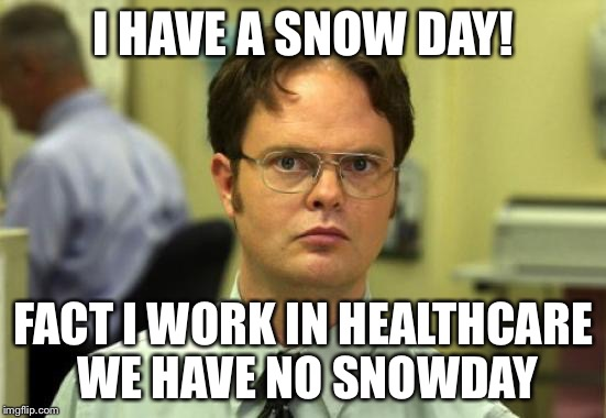 Dwight Schrute Meme | I HAVE A SNOW DAY! FACT I WORK IN HEALTHCARE WE HAVE NO SNOWDAY | image tagged in memes,dwight schrute | made w/ Imgflip meme maker