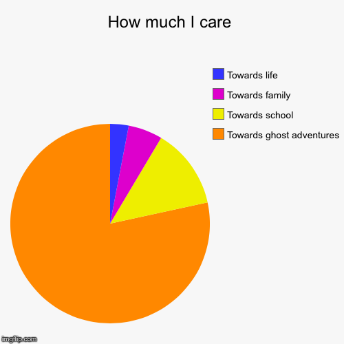 How much I care | Towards ghost adventures , Towards school, Towards family , Towards life | image tagged in funny,pie charts | made w/ Imgflip pie chart maker