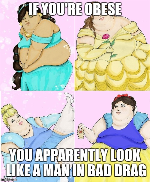 Fat Disney Candelaria | IF YOU'RE OBESE YOU APPARENTLY LOOK LIKE A MAN IN BAD DRAG | image tagged in fat disney candelaria | made w/ Imgflip meme maker