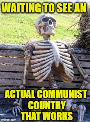 Waiting Skeleton | WAITING TO SEE AN ACTUAL COMMUNIST COUNTRY THAT WORKS | image tagged in memes,waiting skeleton,communism,communist,democratic socialism,communist socialist | made w/ Imgflip meme maker