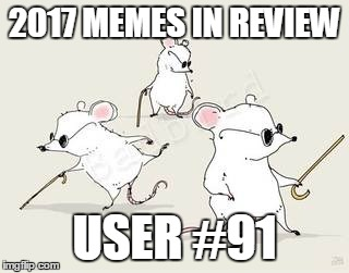 Dec.31 to Feb.1 - 2017 Memes in Review. These are my favorite 2017 memes from each user on the Top 100 leaderboard. | 2017 MEMES IN REVIEW USER #91 | image tagged in blind mice,memes,top users,dudefromeurope,favorites,2017 memes in review | made w/ Imgflip meme maker