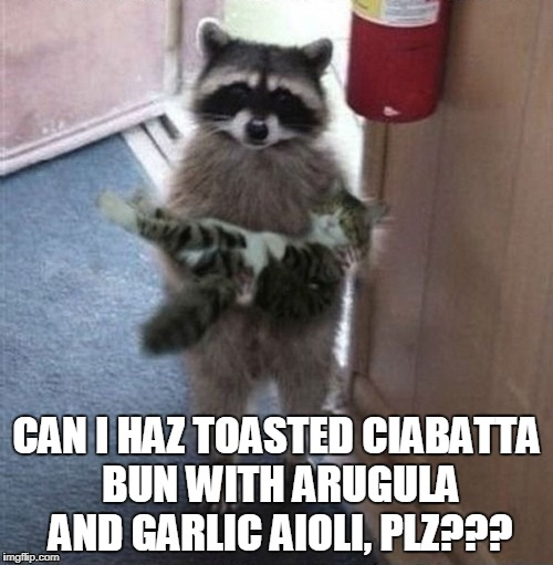 what goes best? white or red? | CAN I HAZ TOASTED CIABATTA BUN WITH ARUGULA AND GARLIC AIOLI, PLZ??? | image tagged in raccoon carrying cat,memes,food,cats,raccoon,pretentious | made w/ Imgflip meme maker