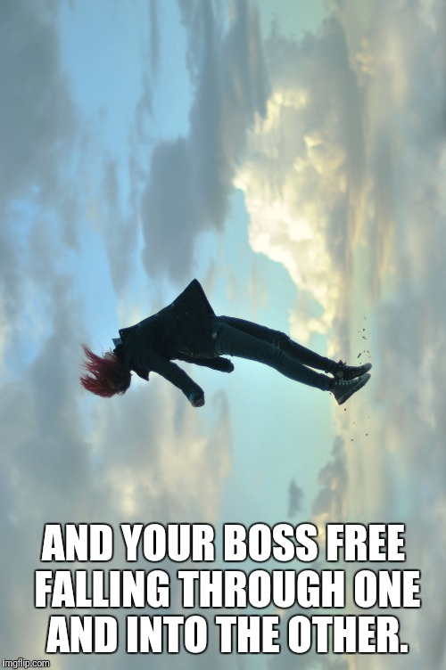 AND YOUR BOSS FREE FALLING THROUGH ONE AND INTO THE OTHER. | made w/ Imgflip meme maker