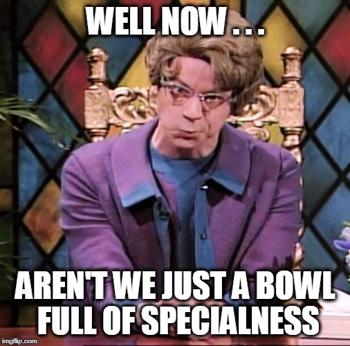 Church Lady | WELL NOW . . . AREN'T WE JUST A BOWL FULL OF SPECIALNESS | image tagged in church lady | made w/ Imgflip meme maker