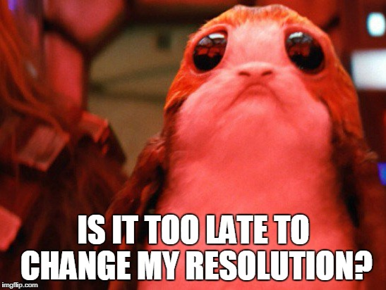 IS IT TOO LATE TO CHANGE MY RESOLUTION? | image tagged in porg | made w/ Imgflip meme maker