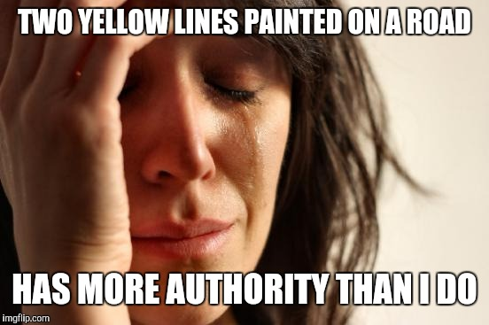 First World Problems Meme | TWO YELLOW LINES PAINTED ON A ROAD HAS MORE AUTHORITY THAN I DO | image tagged in memes,first world problems,funny | made w/ Imgflip meme maker