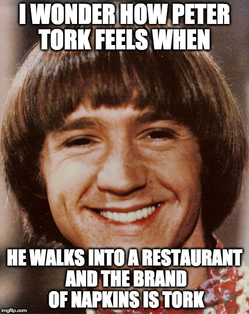 I seriously wonder... | I WONDER HOW PETER TORK FEELS WHEN HE WALKS INTO A RESTAURANT AND THE BRAND OF NAPKINS IS TORK | image tagged in the monkees | made w/ Imgflip meme maker
