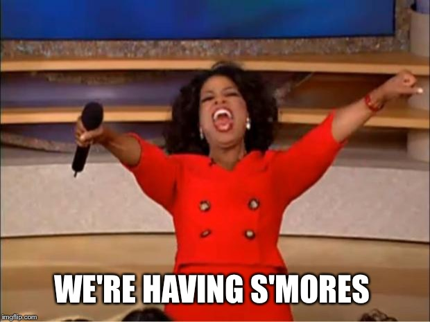 Oprah You Get A Meme | WE'RE HAVING S'MORES | image tagged in memes,oprah you get a | made w/ Imgflip meme maker