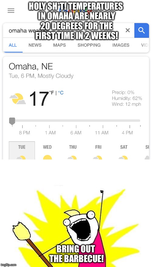 Omaha Weather  | HOLY SH*T! TEMPERATURES IN OMAHA ARE NEARLY 20 DEGREES FOR THE FIRST TIME IN 2 WEEKS! BRING OUT THE BARBECUE! | image tagged in omaha,nebraska,weather,winter,cold weather | made w/ Imgflip meme maker