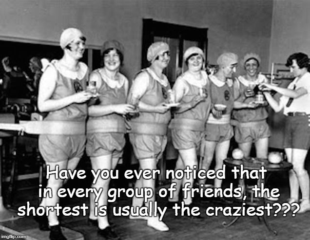 Friends... | Have you ever noticed that in every group of friends, the shortest is usually the craziest??? | image tagged in group,shortest,craziest,friends | made w/ Imgflip meme maker