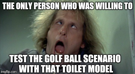 THE ONLY PERSON WHO WAS WILLING TO TEST THE GOLF BALL SCENARIO WITH THAT TOILET MODEL | made w/ Imgflip meme maker