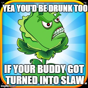 YEA YOU'D BE DRUNK TOO IF YOUR BUDDY GOT TURNED INTO SLAW | made w/ Imgflip meme maker