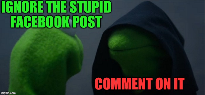 Evil Kermit Meme | IGNORE THE STUPID FACEBOOK POST COMMENT ON IT | image tagged in memes,evil kermit | made w/ Imgflip meme maker