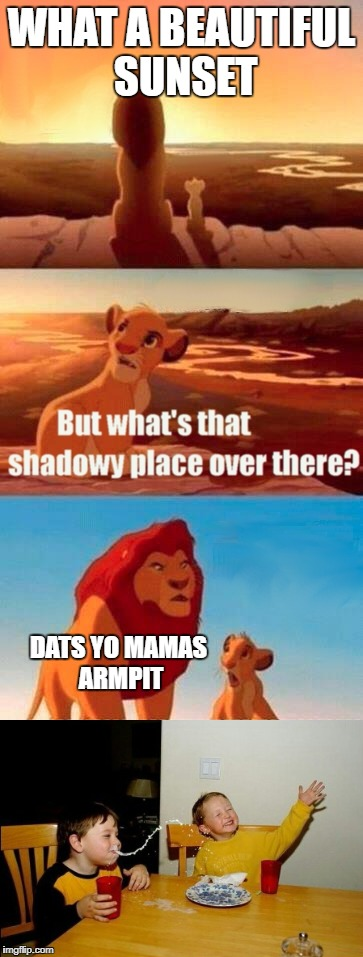 When two memes collide | WHAT A BEAUTIFUL SUNSET DATS YO MAMAS ARMPIT | image tagged in yo mamas so fat,memes,simba shadowy place,funny,joker | made w/ Imgflip meme maker