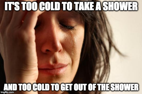 My wife said this. | IT'S TOO COLD TO TAKE A SHOWER AND TOO COLD TO GET OUT OF THE SHOWER | image tagged in memes,first world problems,shower,cold | made w/ Imgflip meme maker