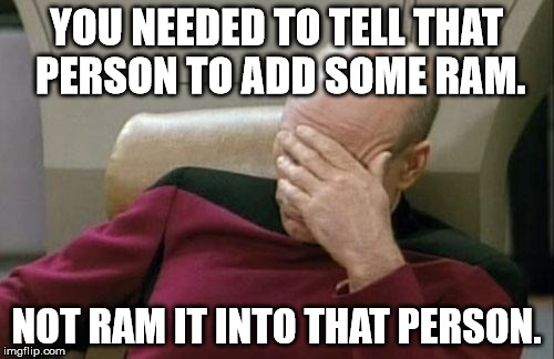 Captain Picard Facepalm Meme | YOU NEEDED TO TELL THAT PERSON TO ADD SOME RAM. NOT RAM IT INTO THAT PERSON. | image tagged in memes,captain picard facepalm | made w/ Imgflip meme maker
