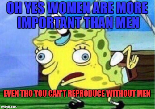 Mocking Spongebob Meme | OH YES WOMEN ARE MORE IMPORTANT THAN MEN EVEN THO YOU CAN'T REPRODUCE WITHOUT MEN | image tagged in memes,mocking spongebob | made w/ Imgflip meme maker