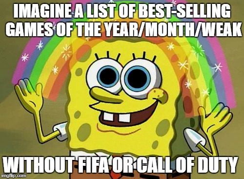 Imagination Spongebob Meme | IMAGINE A LIST OF BEST-SELLING GAMES OF THE YEAR/MONTH/WEAK WITHOUT FIFA OR CALL OF DUTY | image tagged in memes,imagination spongebob,fifa,call of duty,fifa e call of duty,video games | made w/ Imgflip meme maker