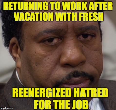 Back to Work | RETURNING TO WORK AFTER VACATION WITH FRESH REENERGIZED HATRED FOR THE JOB | image tagged in vacation,hatred | made w/ Imgflip meme maker