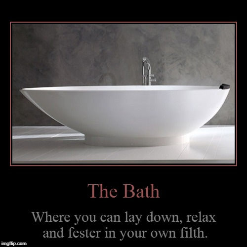 The Bath | The Bath | Where you can lay down, relax and fester in your own filth. | image tagged in funny,demotivationals,baths | made w/ Imgflip demotivational maker